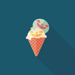Halloween ice cream flat icon with long shadow,eps10