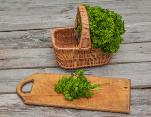 Basket with fresh parsley
