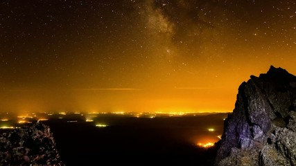 Milky way with village