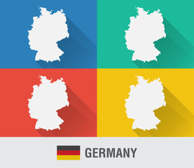 Germany world map in flat style with 4 colors.