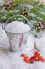 Bucket with snow