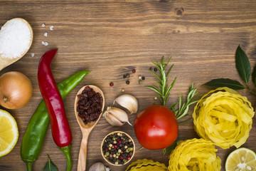 Food ingrediens on wooden background