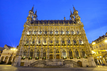 Gothic town hall in evening light, Leuven