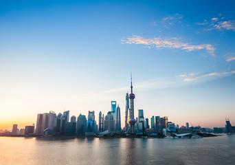 shanghai skyline in sunrise