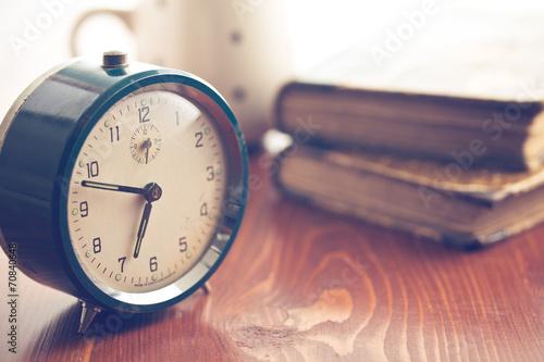 Leinwanddruck Bild analog retro alarm clock