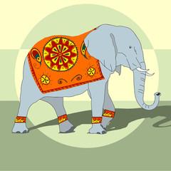 Illustration with big Indian elephant