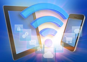 Tablet and phone with wi-fi icon