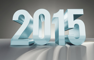 Jahreszahl 2015 aus glänzendem Metall, Eisblau, 3D Render