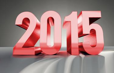 Jahreszahl 2015 aus glänzendem Metall, rot, 3D Render