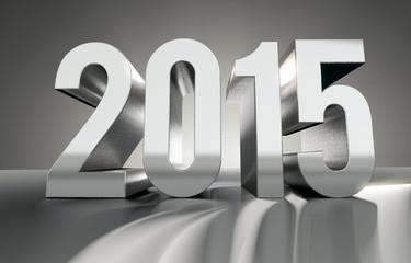 Jahreszahl 2015 aus glänzendem Metall, 3D Render
