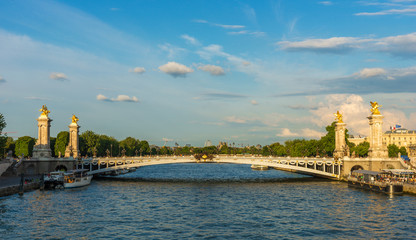 Alexandre III bridge (Pont Alexandre III) during dramatic sunset