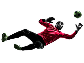 caucasian soccer player goalkeeper man jumping silhouette