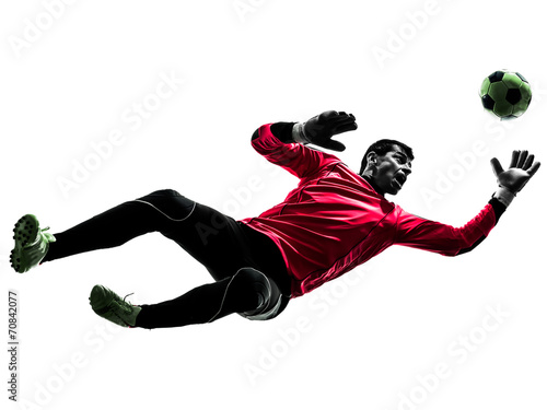 canvas print picture caucasian soccer player goalkeeper man jumping silhouette