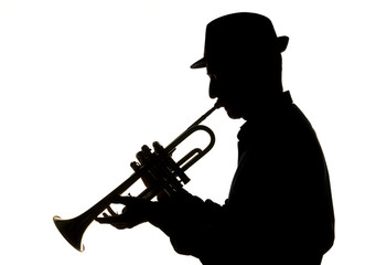 trumpetist playing silhouette