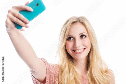 canvas print picture Blonde Frau macht ein Selfie