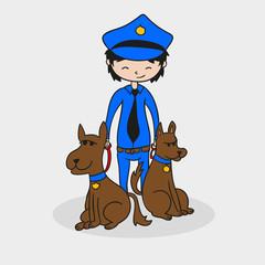 Police and dog illustration