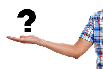 man holding a question mark
