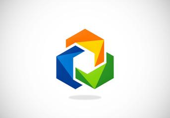 abstract 2D circle color shape vector logo