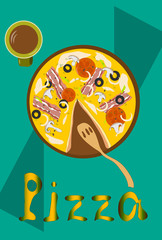 Pizza with bacon and mushrooms poster