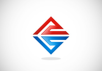 abstract square geometry construction logo