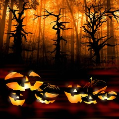 halloween pumpkins on the background of a dark forest