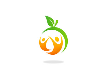health people fruit fitness logo