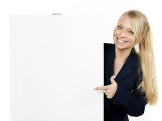 Business woman with whiteboard