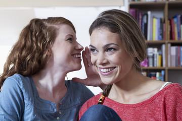 Zwei junge Freundinnen zu Hause, Austausch von Vertraulichkeiten