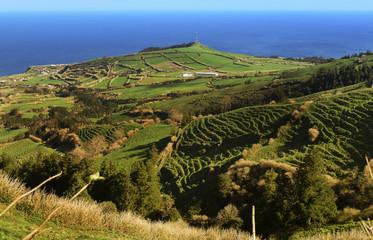 Portugal, Azoren, Sao Miguel, Ansicht von der Caldeira da Sete Cidades, Atlantikküste