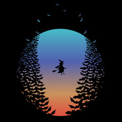 Halloween moon with flying witch and bats, vector
