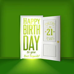Happy birthday green card for 21 year congratulations