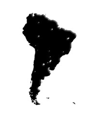 World Map on white background. map of south america