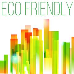 Rainbow eco friendly city concept