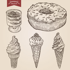 Engraving vector set of ice cream donut layered sweet dessert