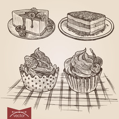 Engraving style hatching vector lineart set of cakes and tarts