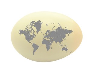 egg on white background and world map