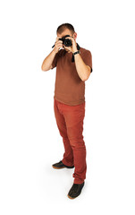 Young man looking into the camera lens