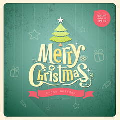 Merry Christmas lettering Greeting card background