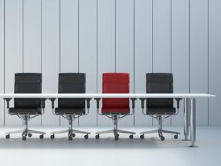 Vier Bürostühle und Konferenztisch, 3D-Rendering