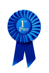 Circular pleated blue winners rosette