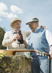 Zwei alte Männer mit Bierchen im Park