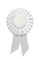 White pleated ribbon rosette for 3rd Place