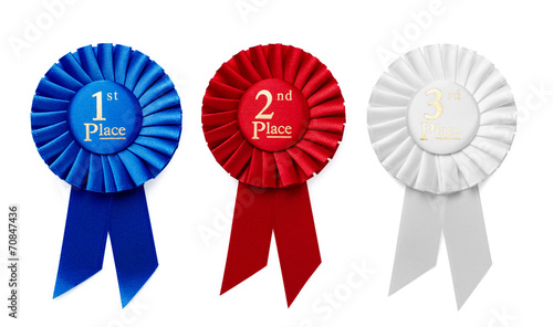 1st, 2nd and 3rd Place ribbon rosettes - 70847436