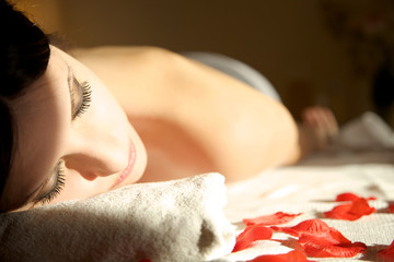 beautiful woman waiting for a  spa massage. Relax