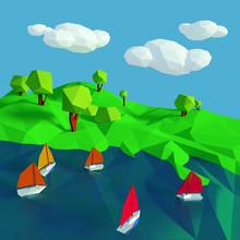 Beaucoup de petits voiliers sur le lac