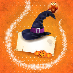 Halloween background with sparkles and hat