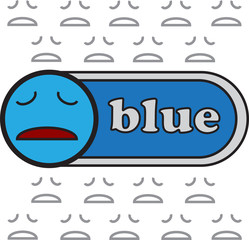 vector quote sign face sad blue