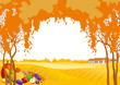 Vector Thanksgiving and Autumn landscape
