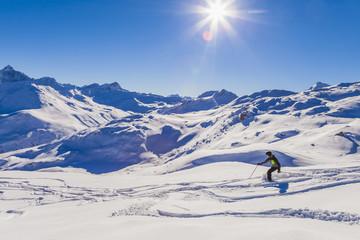 Schweiz, Graubünden, Savognin, Skigebiet, Skifahrer