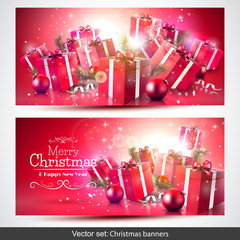 Luxury red Christmas banners